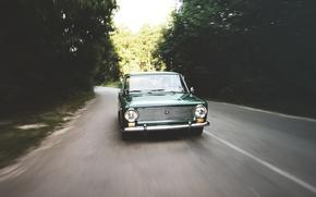 Картинка авто, лес, ретро, жигули, ваз, 2101, low classic