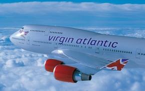 Картинка облака, высота, Boeing, полёт, virgin, atlantic, 400, B-747