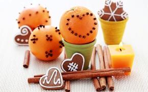 Картинка апельсины, свечи, Новый Год, печенье, Рождество, корица, гвоздика, праздники, новогоднее
