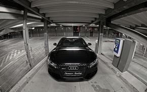Обои RS5, Капот, Лого, Tuning, Фары, Audi, Черный