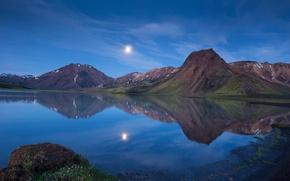 Картинка горы, озеро, отражение, луна, вечер, сумерки, Исландия