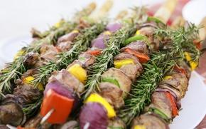 Картинка еда, мясо, овощи, шашлык, вкусно