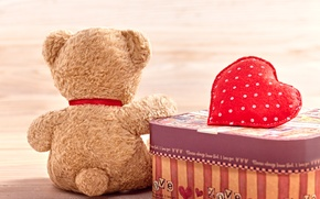 Обои мишка, heart, love, toy, bear, cute, плюшевый, romantic, любовь, Teddy, сердце