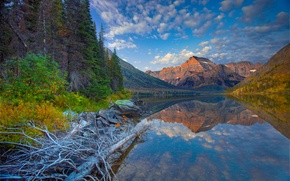 Картинка лес, небо, горы, озеро, камни, Монтана, США, Lake Josephine