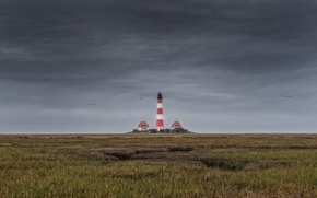 Картинка landscape, nature, lighthouse, North Sea, Schleswig-Holstein, Westerhever