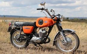 Обои небо, ИЖ - Планета - Спорт, трава, Поле, мотоцикл, СССР
