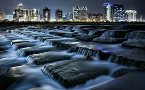 Картинка ночь, город, река