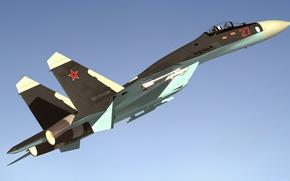 Картинка полет, истребитель, Sukhoi, Flanker, SU 27
