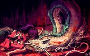 Картинка дракон, аниме, мальчик, арт, девочка, Хаяо Миядзаки, унесенные призраками, тихиро, хаку, дух реки, Haku, Spirited …