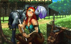 Обои рыжая, двор, эльфийки, art, меч, девушки, эльф, фэнтази
