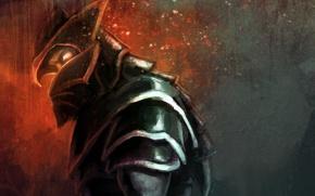 Картинка взгляд, доспехи, воин, арт, профиль, рыцарь, Dota 2, Dragon Knight, JujiBla, Davion