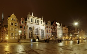 Картинка фото, Дома, Ночь, Город, Улица, Фонари, Польша, Gdansk
