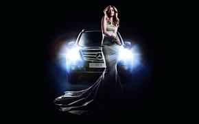 Картинка машина, девушка, свет, фары, Mercedes, мерседес, GLK