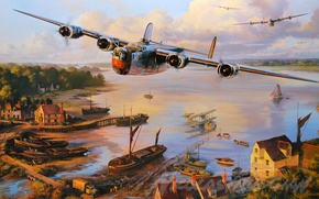 Картинка aviation, ww2, airplane, dogfight, art, b24 liberator, aircraft, war