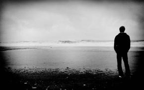 Картинка море, волны, пейзаж, настроение, чёрно-белое, парень