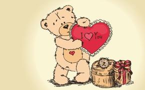 Картинка подарок, медведь, день влюбленных, тедди, i love you, teddy bear, valentines day