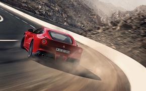 Картинка Феррари, Занос, Ferrari, Red, Суперкар, Supercar, Berlinetta, F12