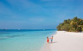 Картинка пляж, пальмы, океан, романтика, пара, белый песок
