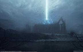 Картинка лучи, темнота, мрак, развалины, руины, CG wallpapers, Bastien Grivet, The first call