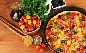 Картинка еда, сыр, пицца, помидоры, оливки, петрушка, блюдо, маслины, специи, плошки