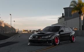 Картинка Subaru, Impreza, WRX, Red, STI, Black, Wheels, Track