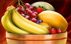 Обои виноград, бананы, миска с фруктами