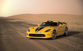 Обои спорткар, Viper, sports car, 2013 Dodge SRT Viper GTS, Dodge, пустыня, дорога, Dodge Viper