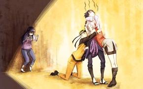 Картинка девушки, аниме, арт, объятия, наруто, парни, naruto, uchiha sasuke, uzumaki naruto, haruno sakura, hyuuga hinata, …
