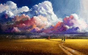 Картинка дорога, поле, облака, деревья, цветы, птицы, мельница, нарисованный пейзаж