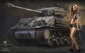 Картинка девушка, танк, girl, танки, WoT, Мир танков, tank, World of Tanks, tanks, Wargaming.Net, BigWorld, Лера, …