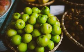 Обои много, яблоки, зеленые