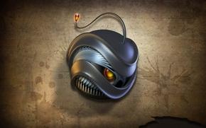 Обои огонь, злость, робот, монстр