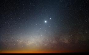 Обои Млечный путь, Луна, галактика, Венера, горизонт, звезды