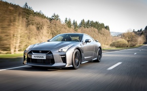 Обои скорость, дорога, деревья, Nissan, авто, GT-R, серебристый, спорткар