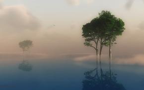 Картинка небо, облака, деревья, пейзаж, природа, туман, озеро