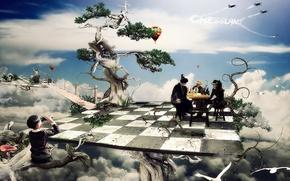 Обои деревья, фантастика, мальчик, шахматы, клетки, доска