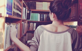 Картинка Ситуации, девушка, брюнетка, книги, магазин, книжный