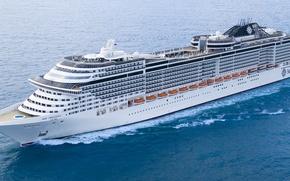 Картинка sea, ocean, france, ship, 2013, travel, french, msc preziosa, Cruise ship, st nazaire