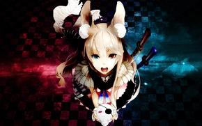 Картинка девушка, оружие, меч, повязка, длинные волосы, открытый рот, челка, светлые волосы, уши животного, глаза разного …