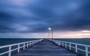 Картинка закат, Мост, фонари