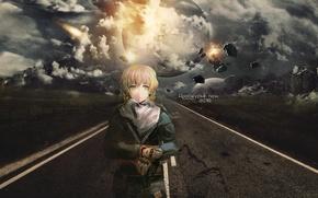 Картинка дорога, небо, разметка, перчатки, метеорит, экипировка, платок, Steins Gate, apocalypse, Suzuha Amane