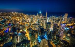 Картинка здания, Чикаго, панорама, Иллинойс, ночной город, Chicago, Illinois, небоскрёбы, кварталы, озеро Мичиган, Lake Michigan, жилые …
