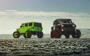 Картинка Green, Front, Black, Forged, Custom, Wrangler, Jeep, Wheels, Track, ADV1, Function
