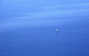Картинка море, пейзаж, лодка, минимализм