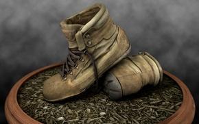 Обои горшок, ботинки, земля