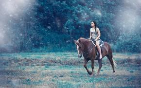Картинка девушка, лошадь, верхом, Alessandro Di Cicco, Away from you