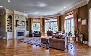 Картинка стиль, диван, интерьер, камин, гостиная