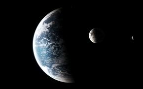 Картинка атмосфера, спутники, планета-океан