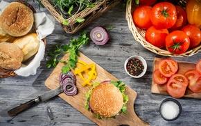 Обои перец, помидоры, нож, булки, гамбургер, лук