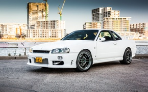 Картинка Nissan, white, GT-R, skyline, R34